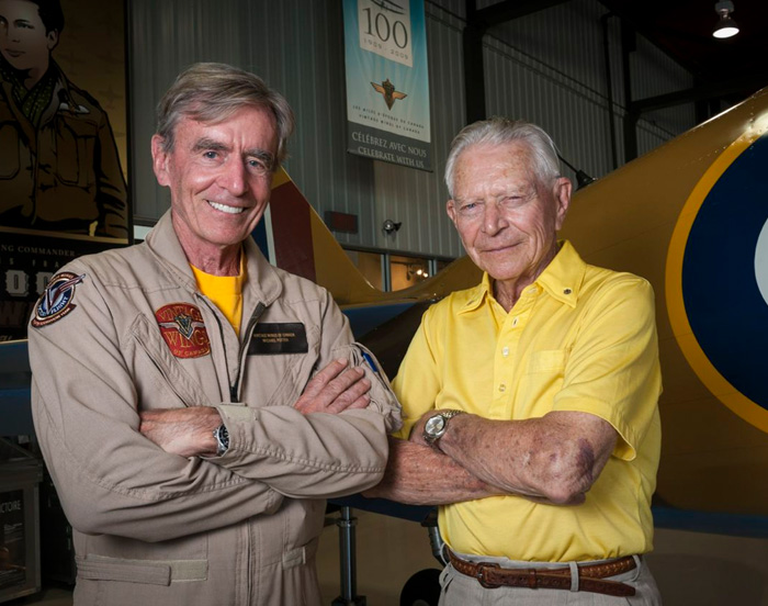 "Mike Potter (left) with Second World War fighter pilot legend Wing Commander James ""Stocky"" Edwards at the Vintage Wings hangar in Gatineau. Potter, a highly experienced Spitfire pilot himself, has provided the massive financial backing that made this project possible. Edwards, living in Comox, has been an encouraging supporter of the project from the beginning. Photo: Peter Handley"