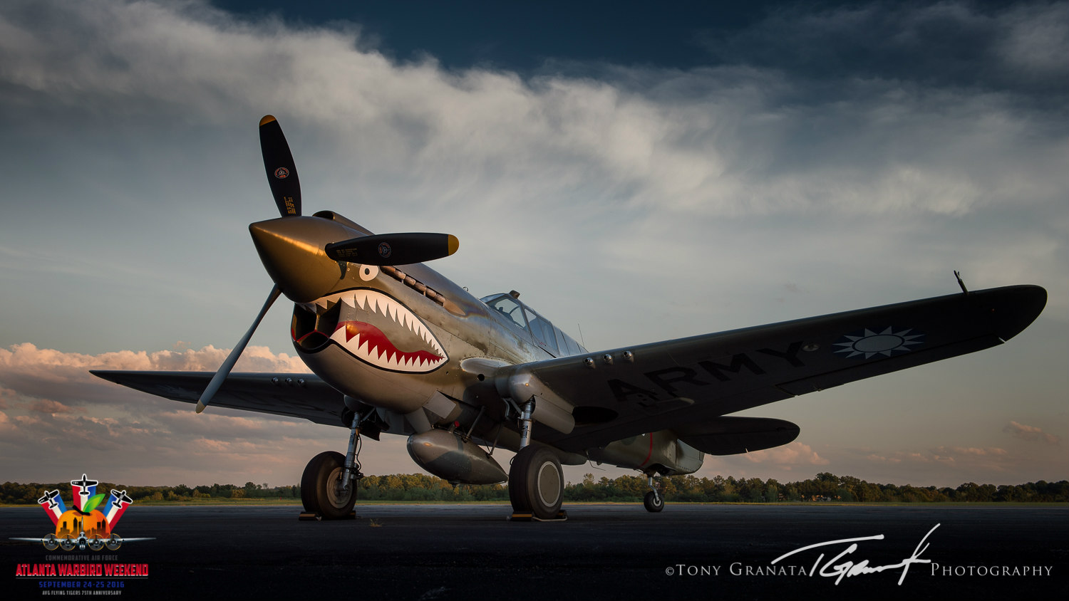 Military Aviation Museum P-40 Warhawk on the ramp of Dekalb Peachtree City Airport for the 2015 Atlanta Warbird Weekend. Photo by Tony Granata Photography.