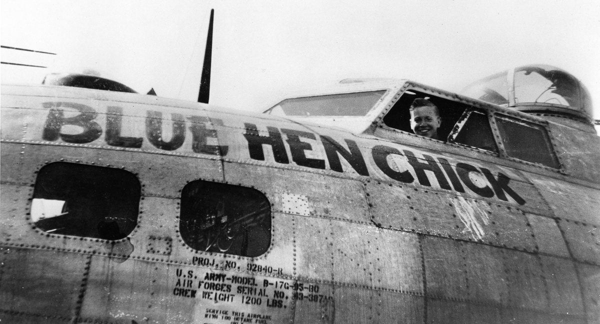 Ralph L. Minker, Jr. in his B-17, the Blue Hen Chick, ca. 1944. (photo used with permission from the Delaware Historical Society Collection)