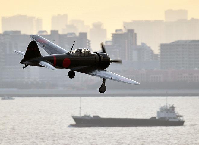 "Mitsubishi A6M ""Zero"" Flies Over Japan"