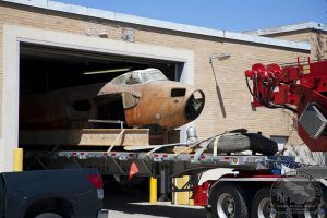 Mosquito CF-HMS  emerges from her leaky city-owned warehouse. (Image Credit: Peter Cromer/Calgary Mosquito Society)