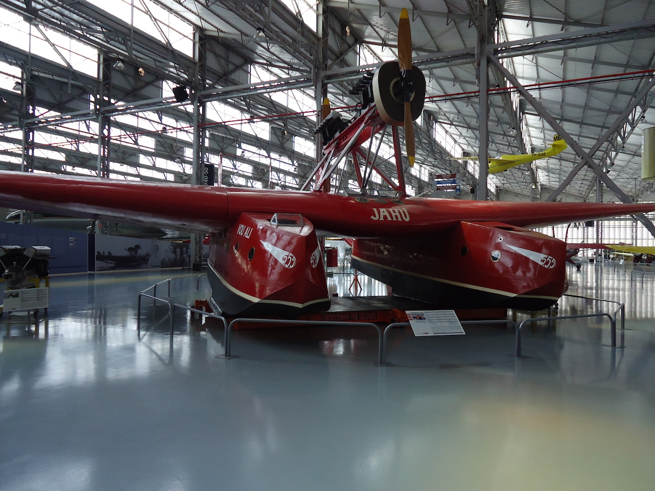 """The last remaining example is preserved in Brazil, at the TAM """"Asas de um sonho"""" museum, at São Carlos, São Paulo. The aircraft, registered I-BAUQ and named """"Jahú"""", was the S.55 used by Commander João Ribeiro de Barros in his crossing of the South Atlantic in 1927."""