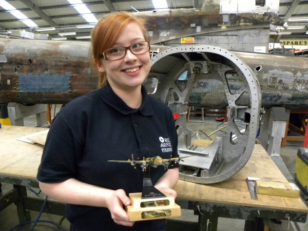 Museum Apprentice Bethany Colburn was named 'Rotary Club of Wolverhampton - Apprentice of the Year' (Image '©Trustees of the Royal Air Force Museum')