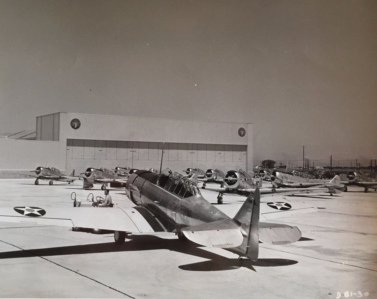 AT-6 Texans fresh off the assembly line, are seen here lined up for delivery in front of the North American Plant in Dallas. The aircraft closest to the camera is going to the Navy as an SNJ-3. (Image from the CAF Collection)