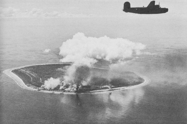 B-24s after an attack on Nauru in the Pacific