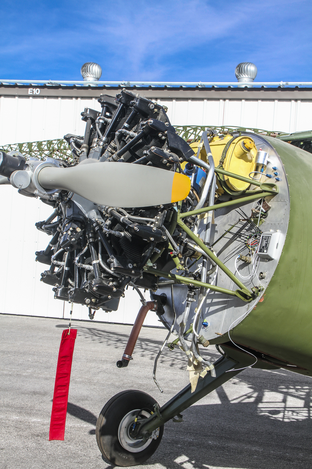 Detail in the engine compartment of Stinson Reliant FB786. (photo via CAF Nevada Wing)