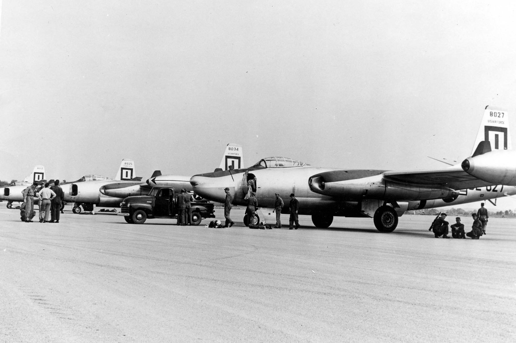 RB-45Cs on the flightline. Aircraft are (nearest to farthest) 48-027, 48-034, 48-025 and 48-012 of the 91st Strategic Reconnaissance Wing. (U.S. Air Force photo via Wikipedia)