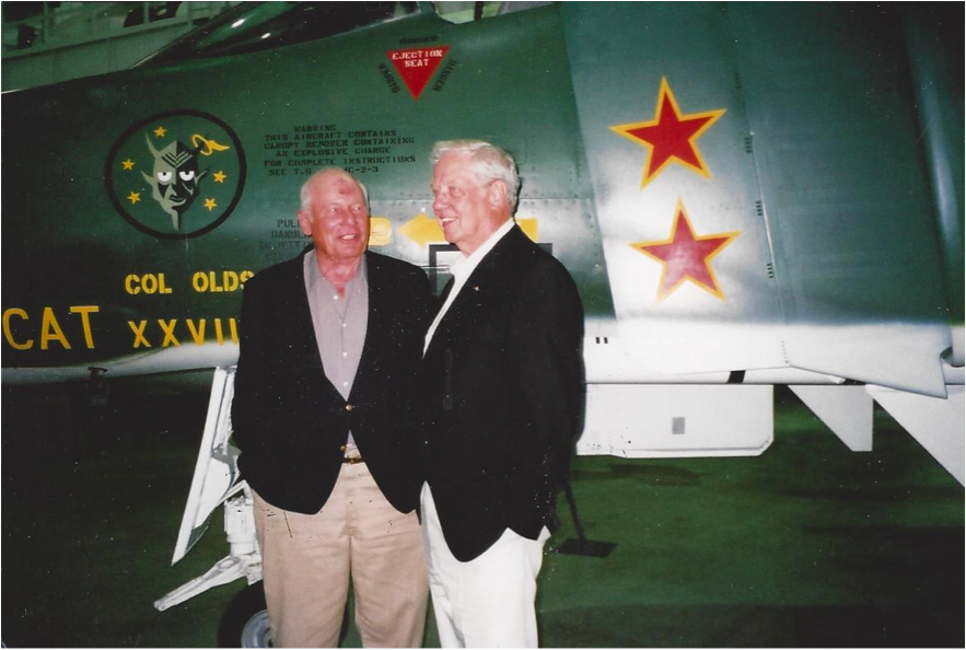 Generals Olds and Titus beside a MiG-killer Phantom II in more recent years.