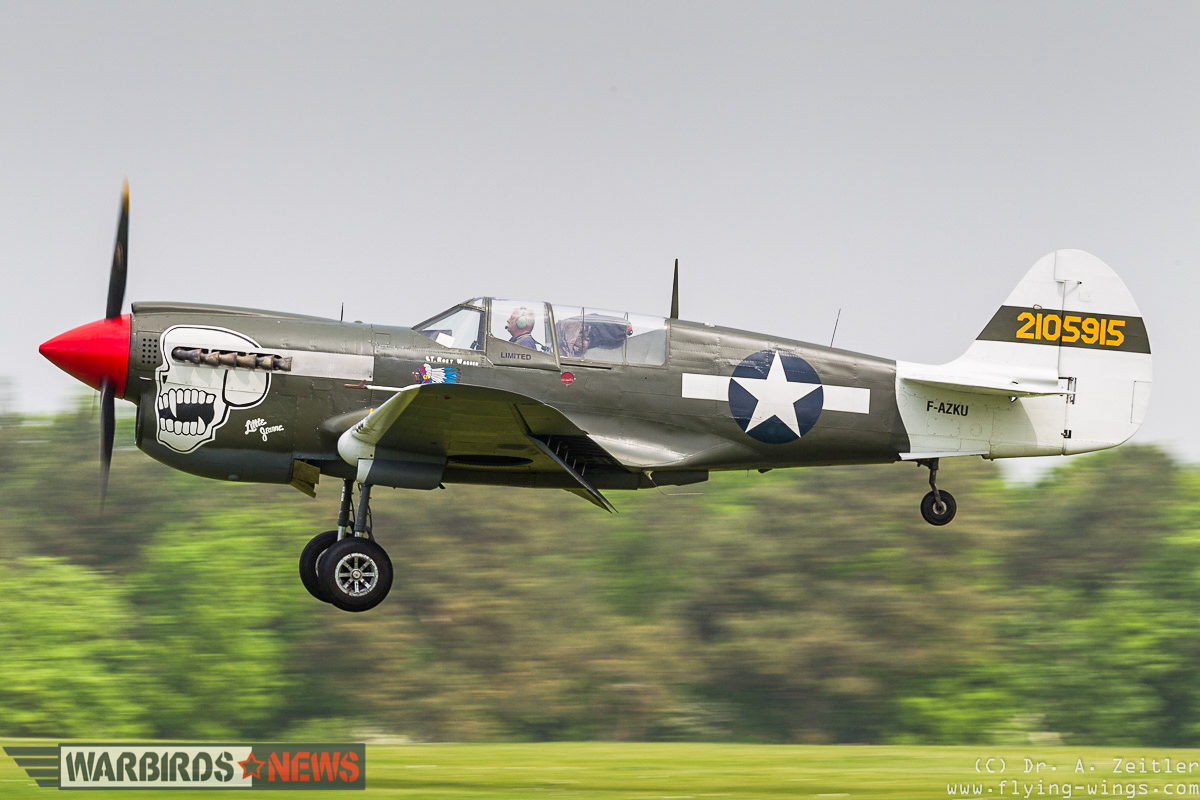 The locally-based, Pacific Theater combat veteran P-40N taking to the skies. (photo by Andreas Zeitler)