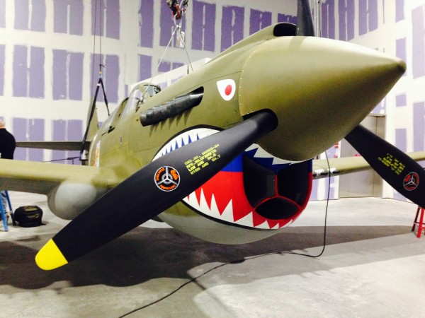 P-40 hovering inside its new home - The Road to Tokyo. ( image credit Rachel Haney)