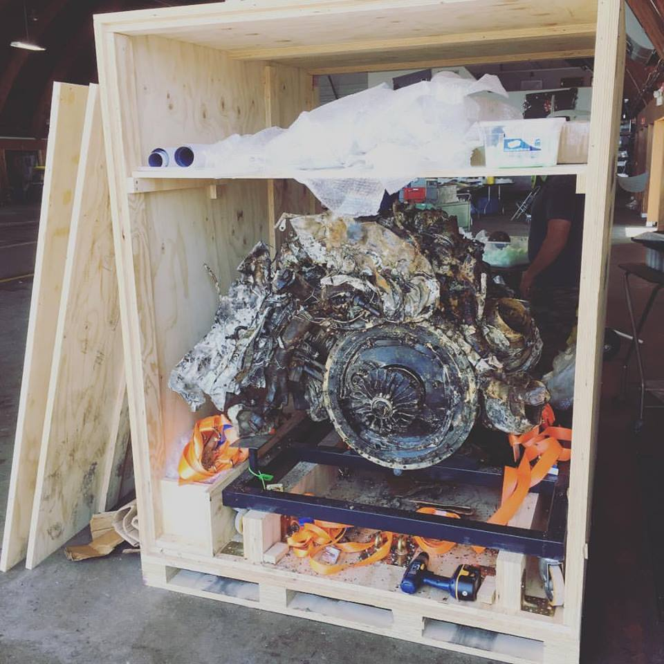 On July 8, the engine and other parts arrived from Italy.