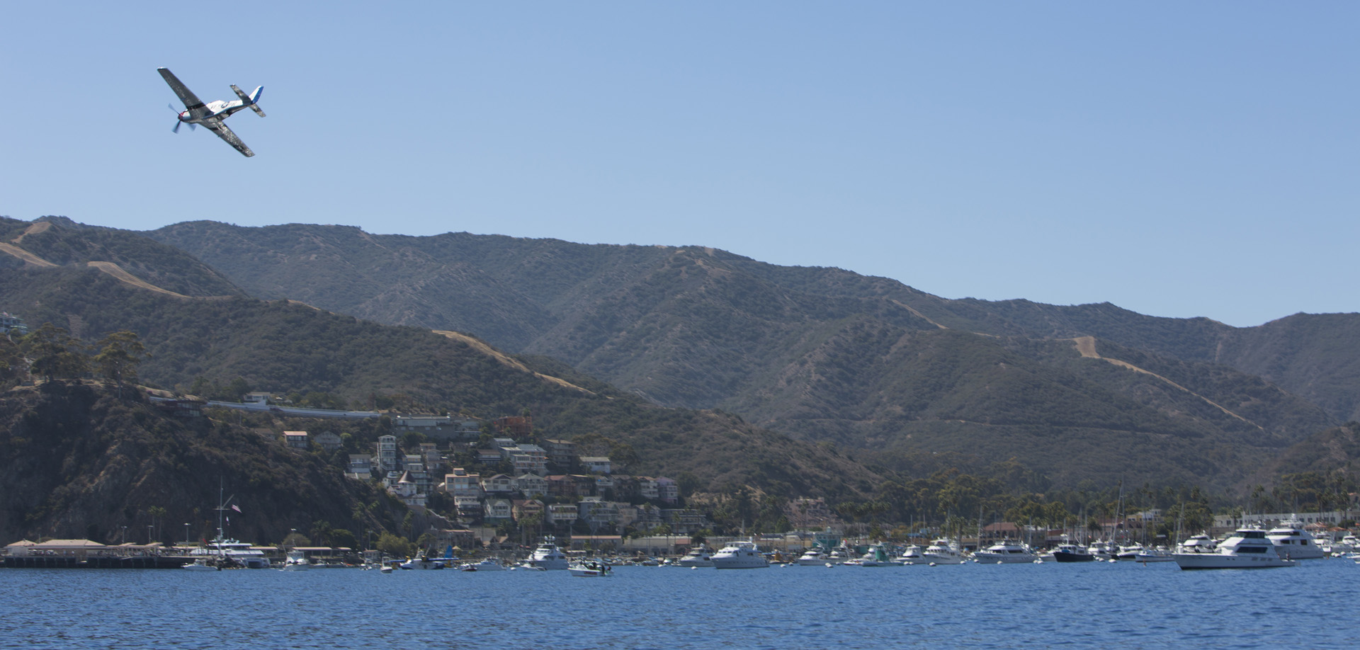 A P-51 Mustang flying over Avalon Harbor at the Catalina Air Show last year. (photo via Catalina Air Show)