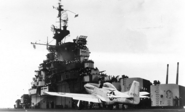 44-14017 on the deck of USS Shangri-La during the trials in November 1944. (US Navy).