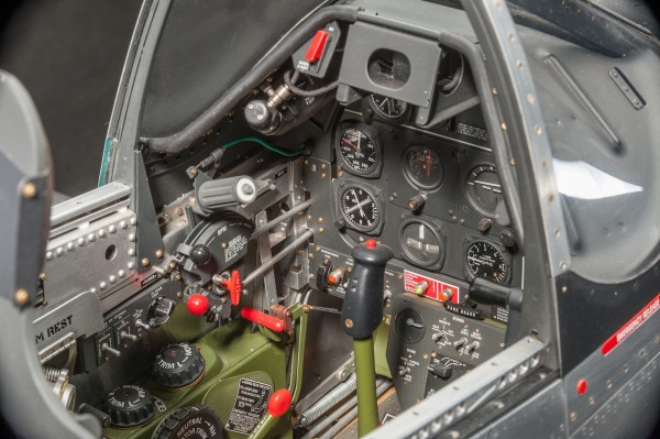 In this picture you can see the amazing detailed work in the cockpit.The console houses controls for the flaps, undercarriage, rudder, elevator and aileron trim tabs and bomb release.