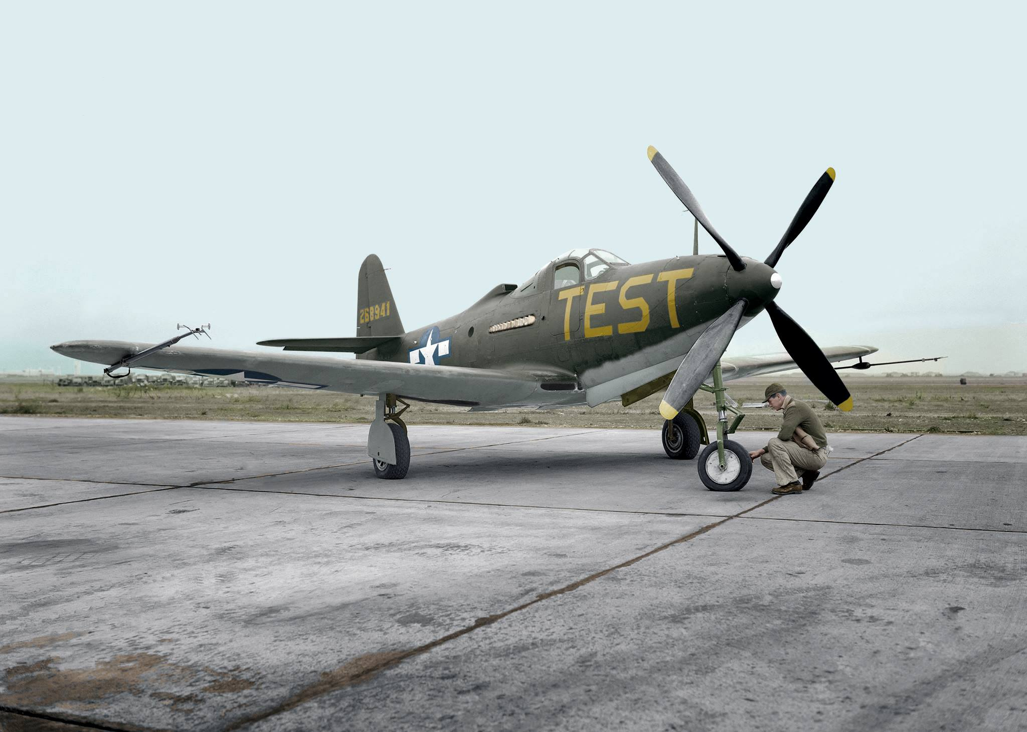 A photo of the CAF Dixie Wing's P-63 Kingcobra taken in 1945 at Moffett Filed, CA.