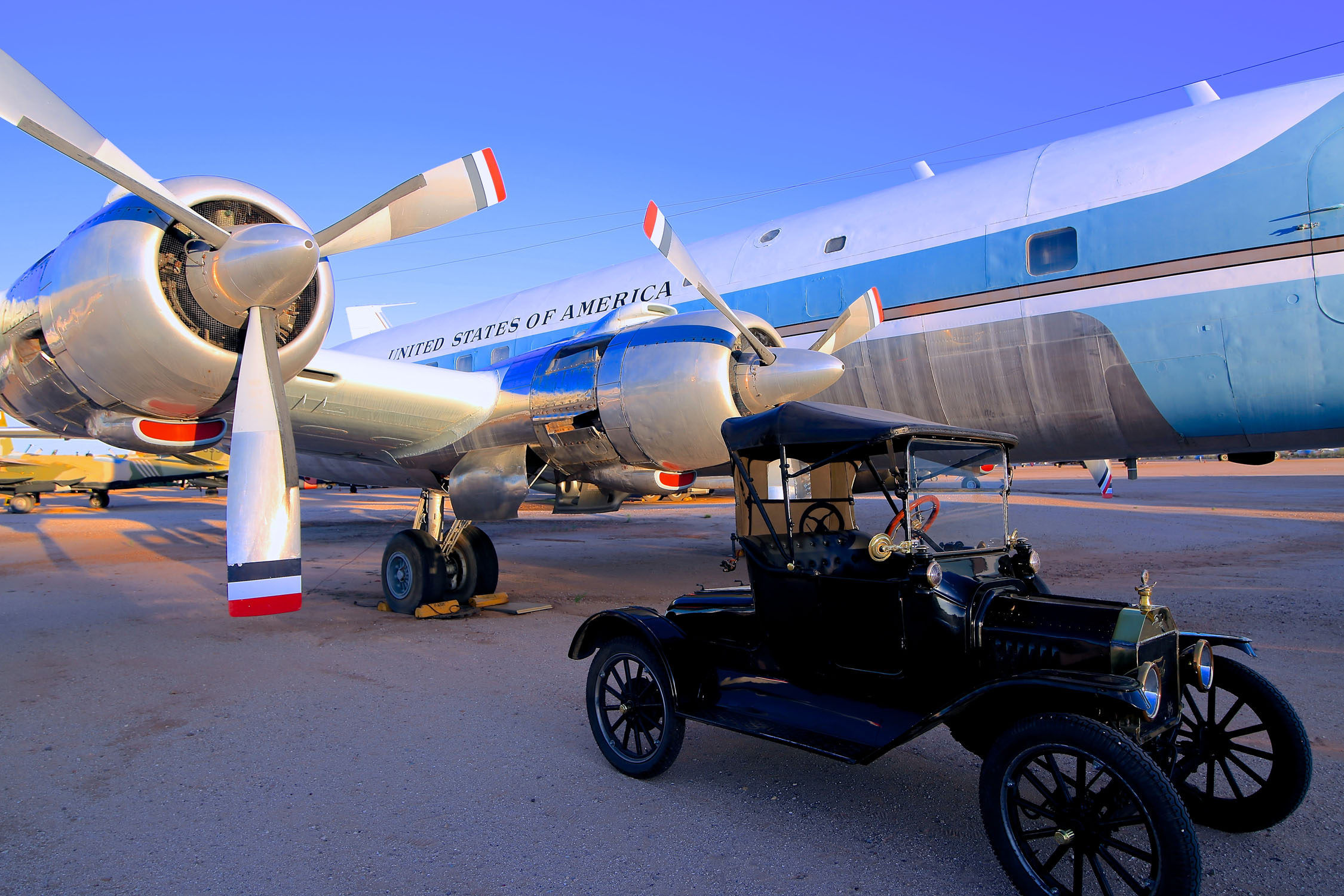 "1915 Model T with Kennedy's ""Air Force One"" at Pima Air & Space. Photo by Richard Johnson."