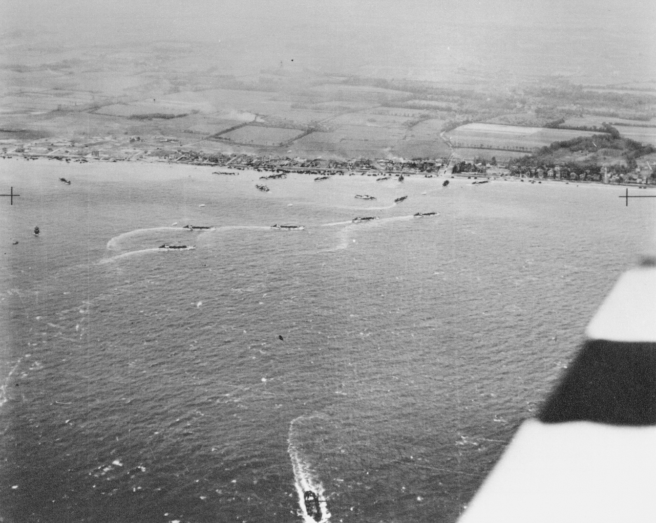 Aerial photograph of a Normandy beach on D-Day, flown by Air Commodore Eric Campbell Geddes - Crown Copyright