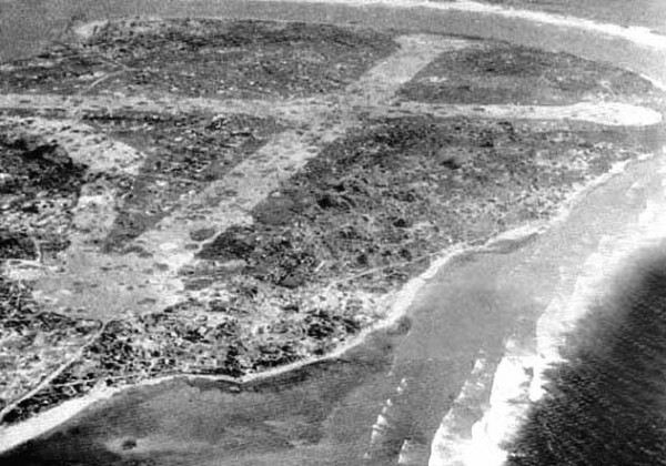The Japanese Navy built two runways on Taroa in WWII, and a third was under construction when the base was completely demolished by American bombing. (photo via Ron Cole)