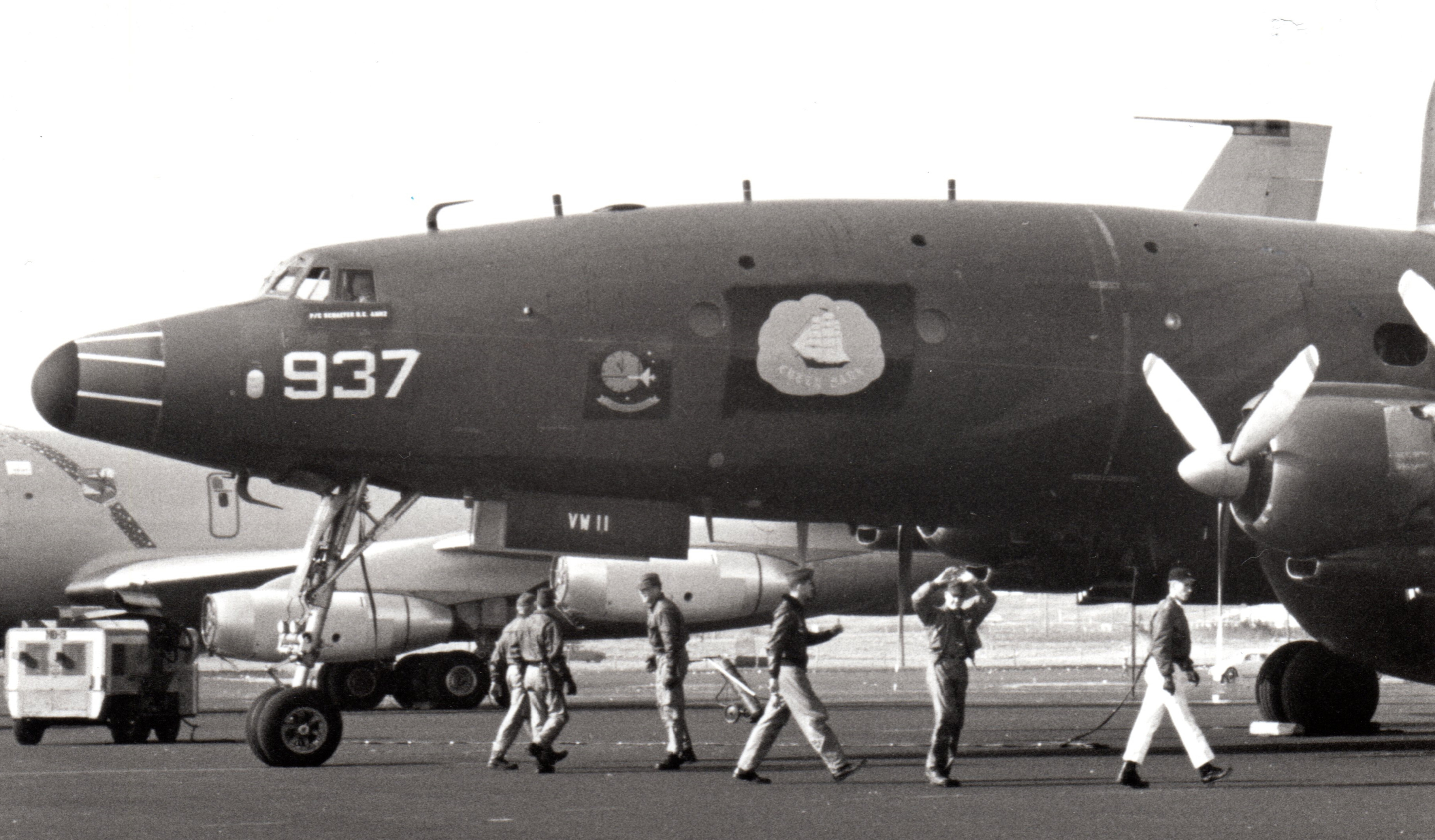 One of  VW-11's Lockheed WV-2 Super Constellations at Ernest Harmon AFB in Newfoundland during an Open Day in 1965. (photo by Will Tate)