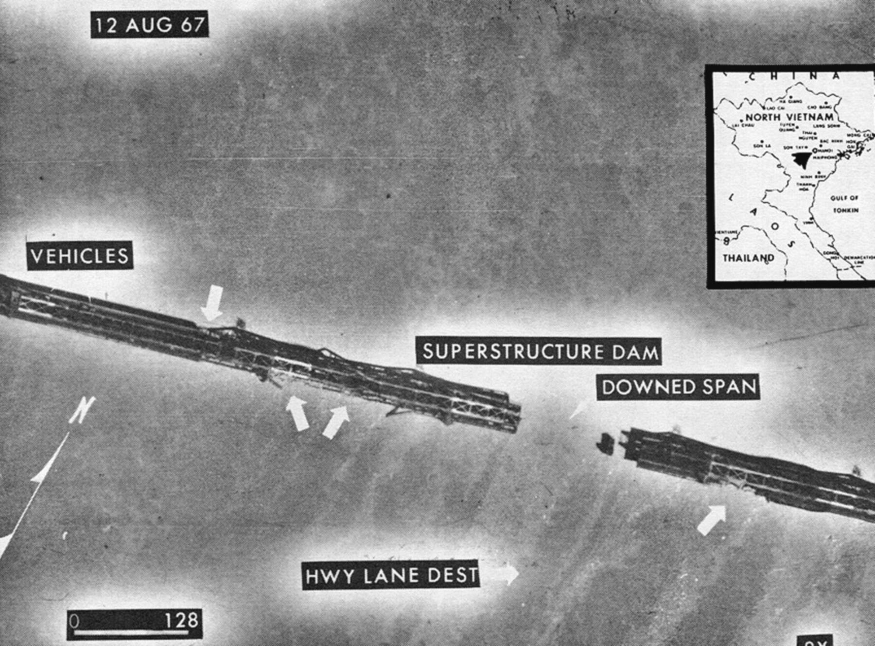 Reconnaissance photograph of Paul Doumer Bridge, Hanoi, 12 August 1967. (U.S. Air Force)