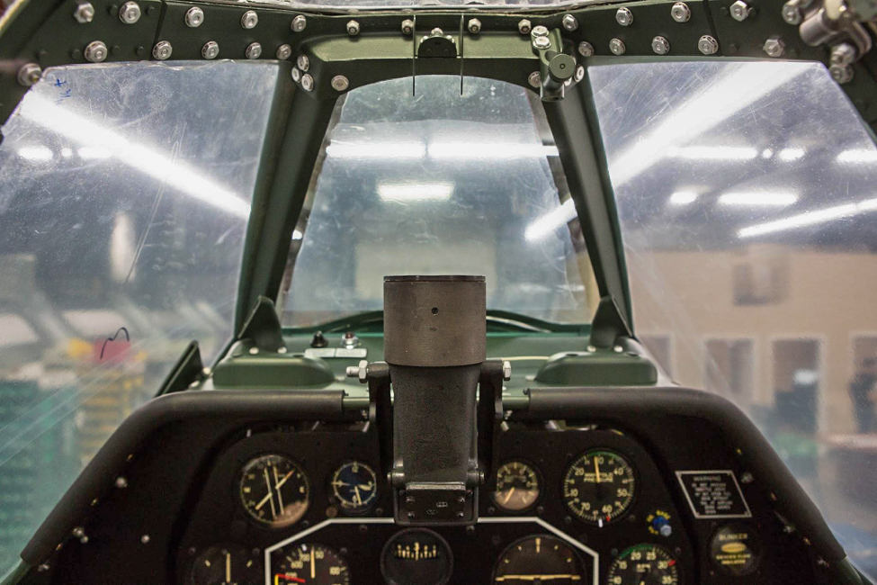 The top of the instrument panel showing the N3B gunsight - the reflector is still to be installed. (photo via AirCorps Aviation)