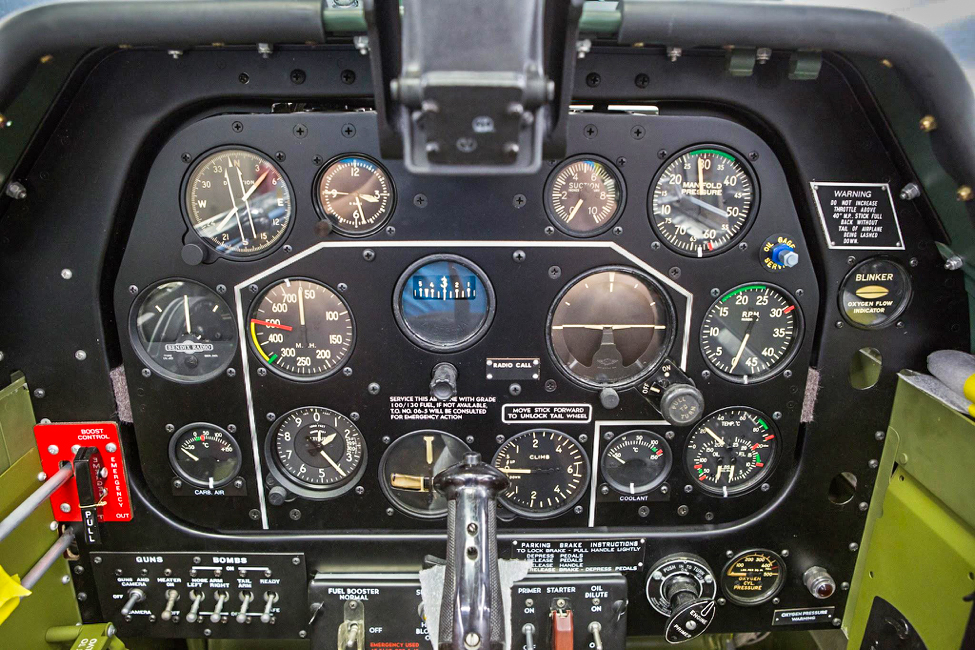 The instrument panel is complete in this view except for the oxygen regulator. (photo via AirCorps Aviation)