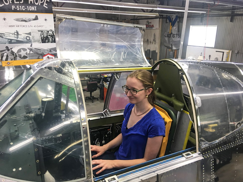 Laura experiences what her grandfather felt and saw in the cockpit of Lope's Hope 3rd. (photo via AirCorps Aviation)