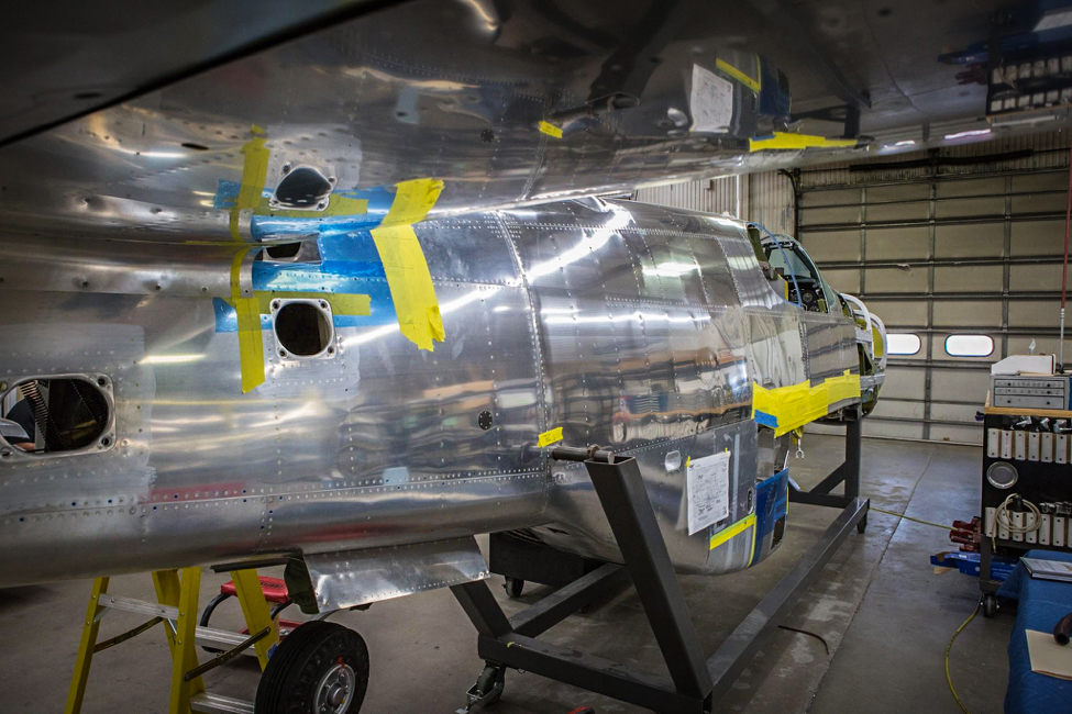 The fuselage has been separated and affixed to a rolling fixture. (photo via AirCorps Aviation)