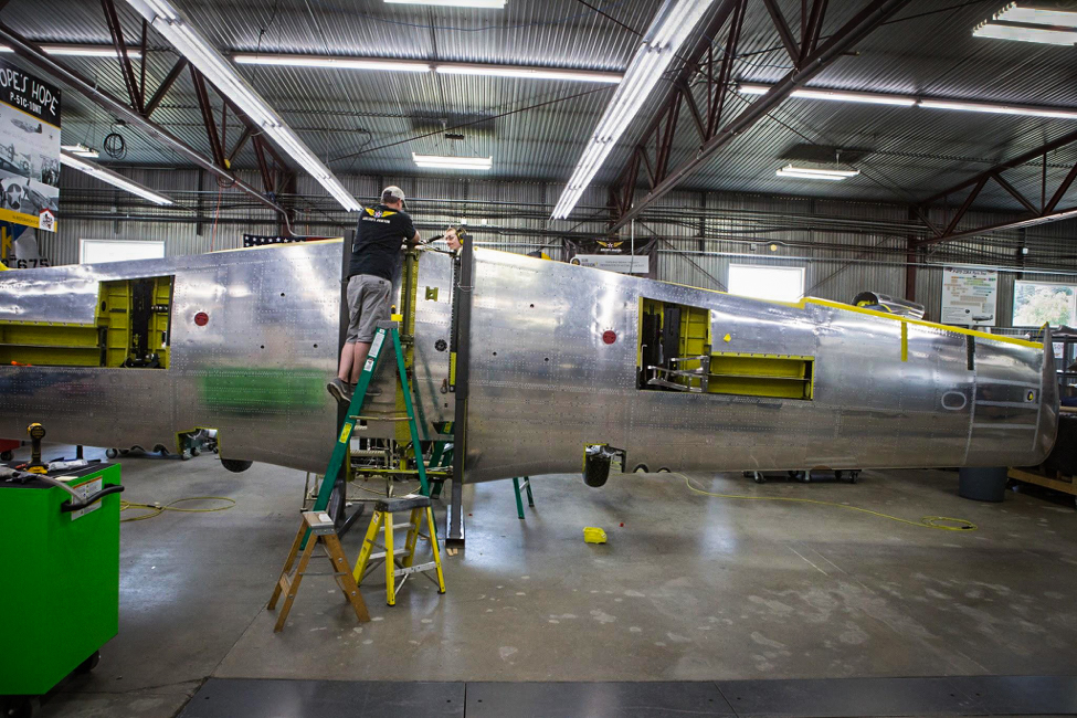 The wing also has a rolling fixture so it can easily be moved into the paint booth. (photo via AirCorps Aviation)
