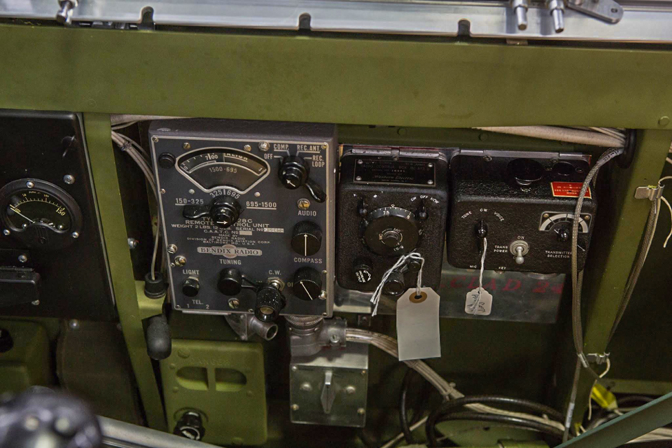 Lope's Hope has a CBI-specific radio package. The three electronic boxes house, l-r, the MN-26 radio compass controller, the SCR 274 communications receiver, and transmitter. (photo via AirCorps Aviation)