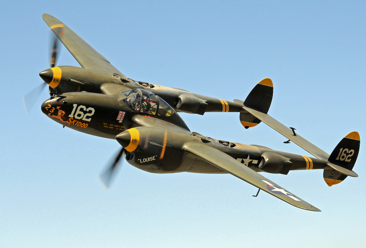 "POF's Lockheed P-38J Lightning ""23 Skidoo"".(Image via Harry 'T' Geier)"