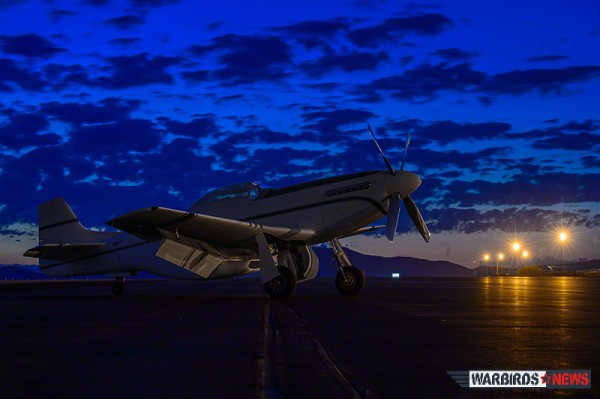 John D'Alessandris' #15 P-51D Mustang in the dawn's early light, day five of the Reno Air Races. (Image Credit: Moose Peterson)