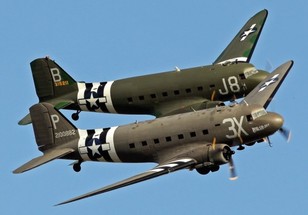 Two restored Douglas DC-3 C-47 Dakota Skytrains in formation.