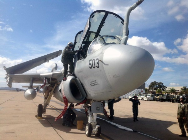 The Flying Leathernecks Aviation Museum's Grumman EA-6B Prowler shortly after she arrived at MCAS Miramar on February 4th. (photo via Flying Leathernecks Aviation Museum)