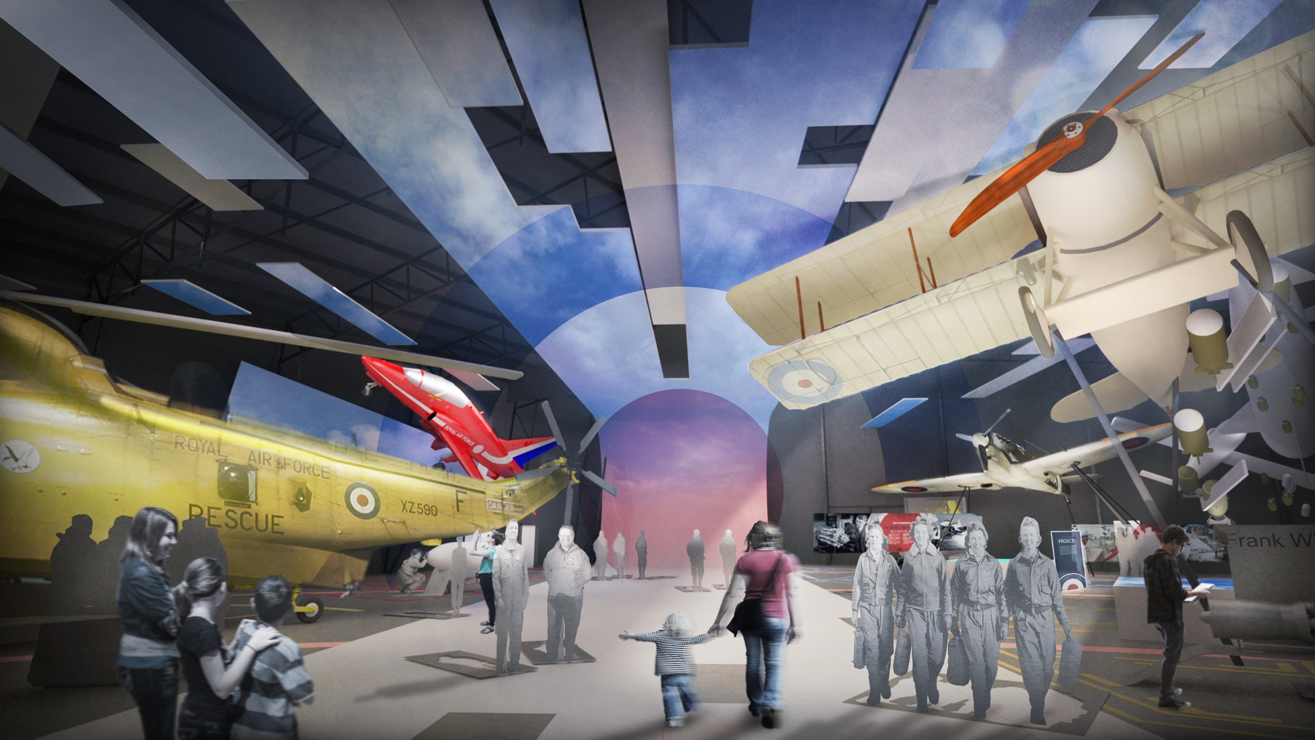 Planned entrance to the new site at RAF Museum, opening 2018 to celebrate 100 years of the Royal Air Force.