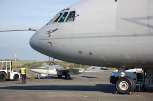 RAF Vickers VC10 on the ground at Newquay with the museum's airworthy de Havilland Vampire. (Image Credit: Classic Air Force Museum)