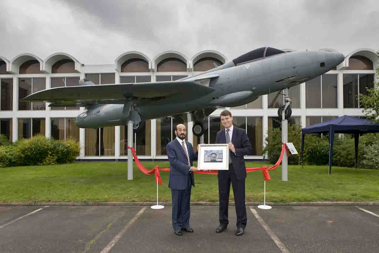 The RAF Museum's Hawker Hunter FR10 gate guardian was donated in 2003 by Sultan Qaboos bin Said Al Said. It was unveiled in its current location in 2011 by the RAF Museum's Director-General, Air Vice-Marshal (ret'd) Peter Dye and Air Vice-Marshal Yahya bin Rasheed Al Juma, then Commander of the Royal Air Force of Oman.