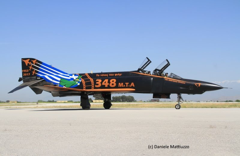 "The right side of the specially marked 348 TRS RF-4E had the text in Greek. MTA is the acronym for Μύρα Τακτικής Αναγνώστης in the Greek alphabet, or Mira Taktikis Anagnorisis, which roughly translates to Tactical Reconnaissance Squadron. Written as ""MaTiA"", it translates to ""Eyes"", the squadron's nickname. (photo by Daniele Mattiuzzo)"
