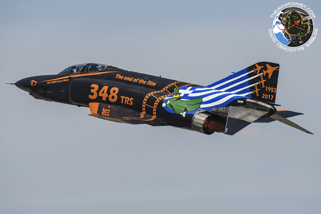 The last Greek RF-4E special color taking off from Larissa airbase. Squadron Leader Lt.Col. Dimitrios Papadimitriou pilot and navigator Operations Officer Lt.Col. Stavros Antonopoulos are at the controls. (Photo by via The Aviationist)