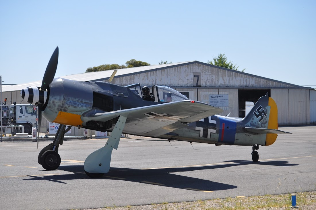 The Fw 190 in Australia, shortly before the canopy was damaged. This aircraft is based upon the remains of an original Fw-190A-8, Wk.Nr. 173056, but contains significant sections built by Flugwerk. (photo via Phil Buckley)