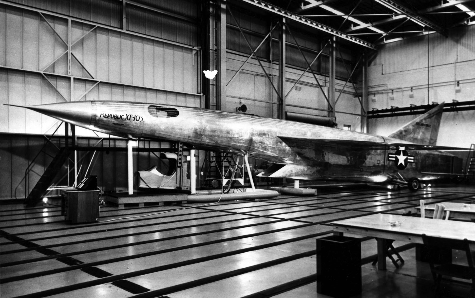 A mock-up of the F-103 was built at the Republic factory. In this image, the pilot's capsule is shown in its lowered position. ( Image by  National Museum of US Air Force via Wikipedia)
