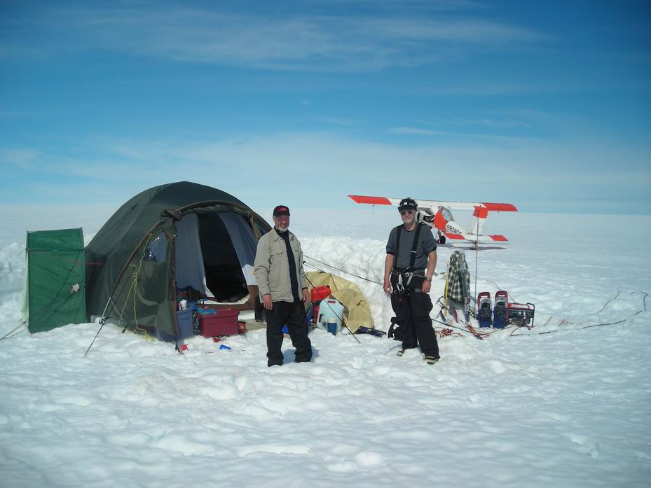 McBride's team camped out in 2011 on the Arctic glacier where the Lightnings are located. The Wilga support plane is in the background. (photo via Ken McBide)