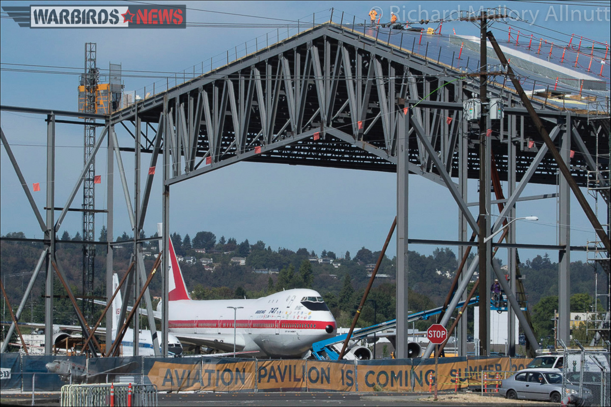 The new Aviation Pavilion at the Museum of Flight shown here while under construction last August. This is set to be the new home for the 727 prototype. As you should be able to see, the prototype 747 and 737 are already nearby waiting for their turn to enter the building too! (photo by Richard Mallory Allnutt)