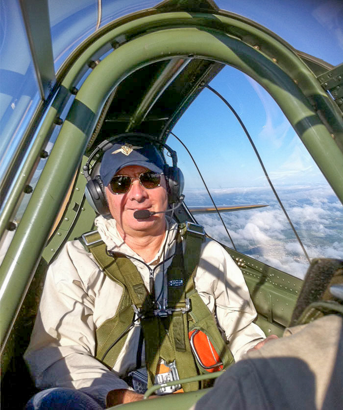 There's plenty of room in the P-40 for most people... even the towering 6'4'' Dave O'Malley as seen here. (photo by Paul Kissman)