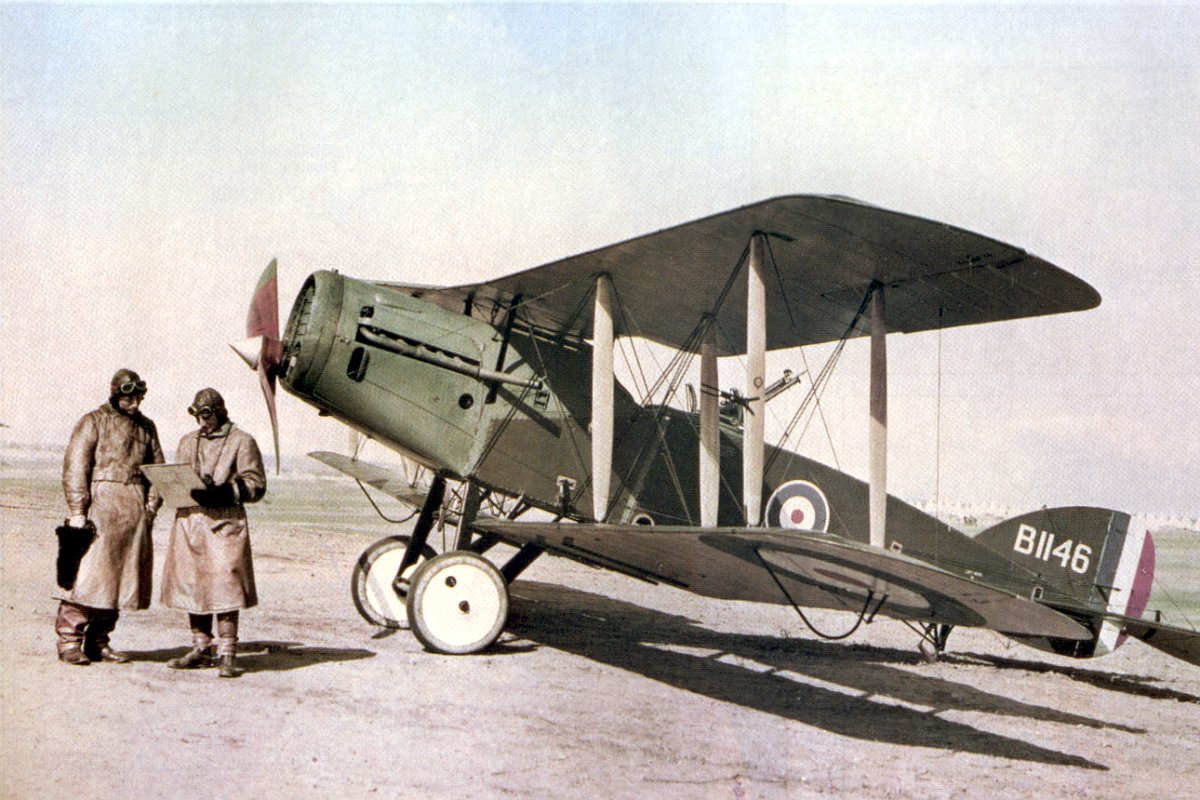 Lieutenant Ross Smith (left) with a No. 1 Squadron Bristol Fighter, Palestine, February 1918. (photo/caption via Wikipedia)