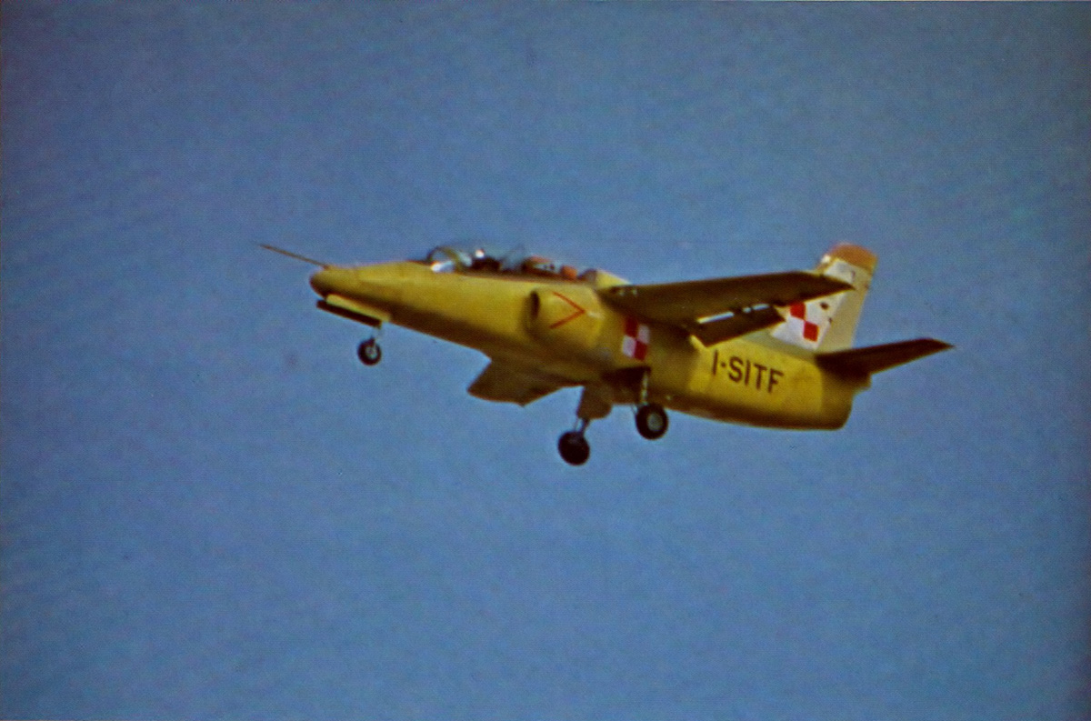 The S.211 on its first flight, April 10th, 1981; flying from Milan's international airport. (photo via Wiki)