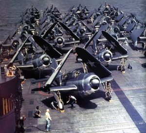 U.S. Navy Curtiss SB2C-1 Helldiver bombers Bombing Squadron Five (VB-5) pictured on the flight deck aboard the ciarctaft carrier USS Yorktown (CV-10).