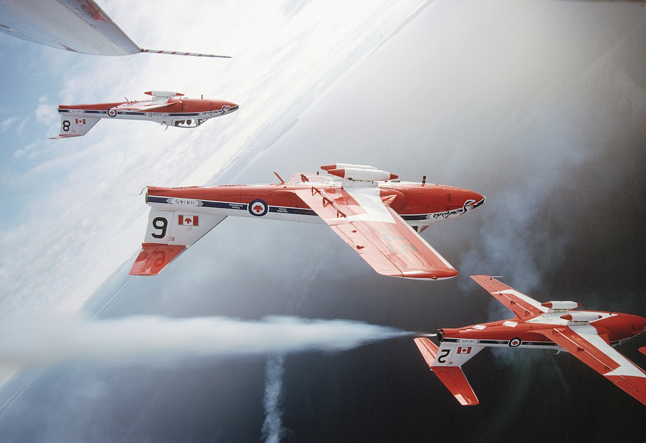 "Officially known as the Canadian Forces 431 Air Demonstration Squadron, the Snowbirds are Canada's military aerobatics or air show flight demonstration team whose purpose is to ""demonstrate the skill, professionalism, and teamwork of Canadian Forces personnel. (Photo by Luigino Caliaro)"