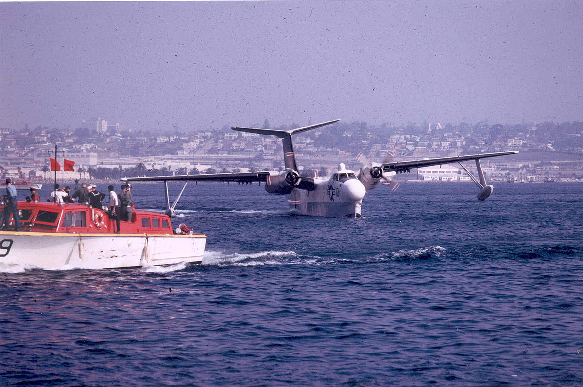 A U.S. Navy Martin SP-5B Marlin (BuNo. 135533) of patrol squadron VP-40 Fighting Marlins landing after its last operational flight in San Diego Bay on 6 November 1967. It is now on display at the National Museum of Naval Aviation at Pensacola, Florida (USA). (photo via Wikipedia)