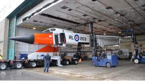 The replica of the Avro Arrow is loaded onto a trailer at Downsview Park on Saturday, Sept. 21, 2013. (CASM / Kenneth I. Swartz)